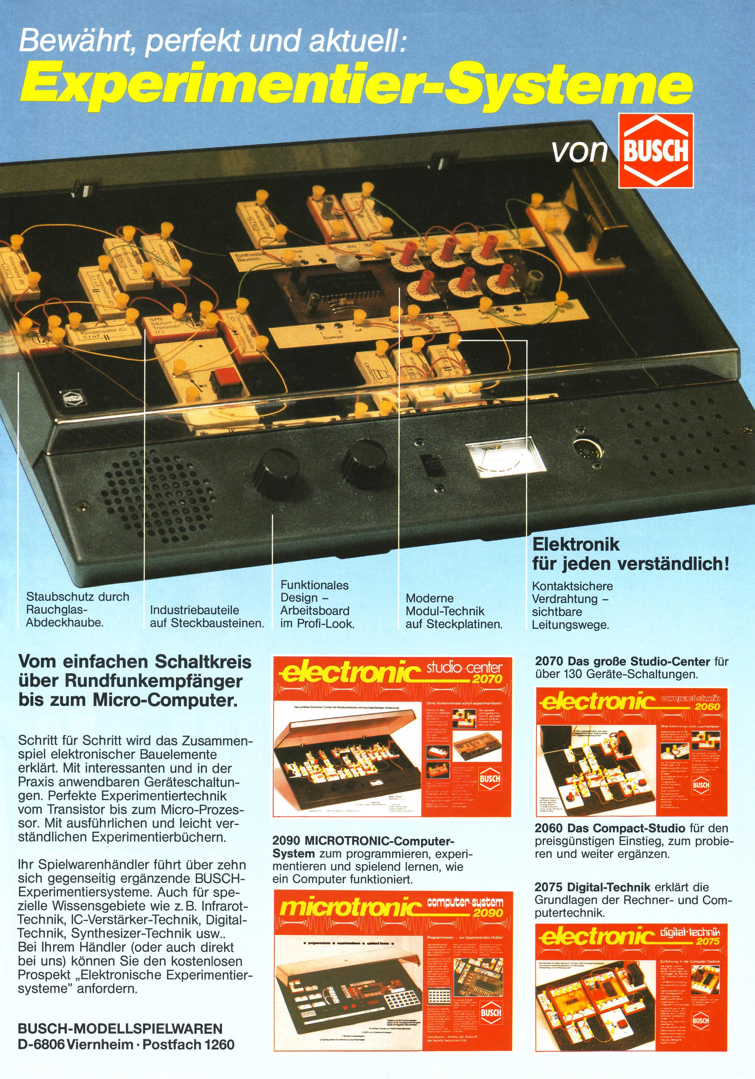 das experimentierkasten board thema anzeigen busch neuheiten 1986 87. Black Bedroom Furniture Sets. Home Design Ideas